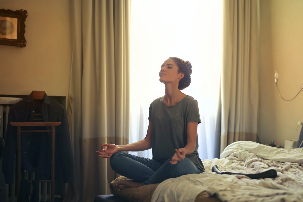 Meditating in a silent room